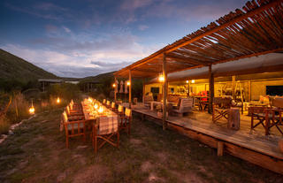 Tented Eco Camp Outdoor and Indoor Dining and Lounge Area