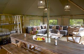 Tented Eco Camp Indoor Lounge and Dining area