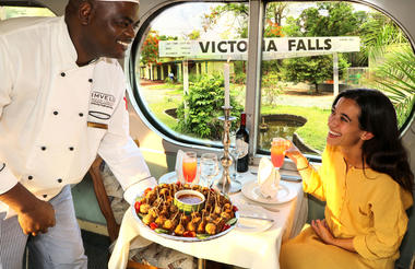 Enjoying canapes before departure from Victoria Falls Station